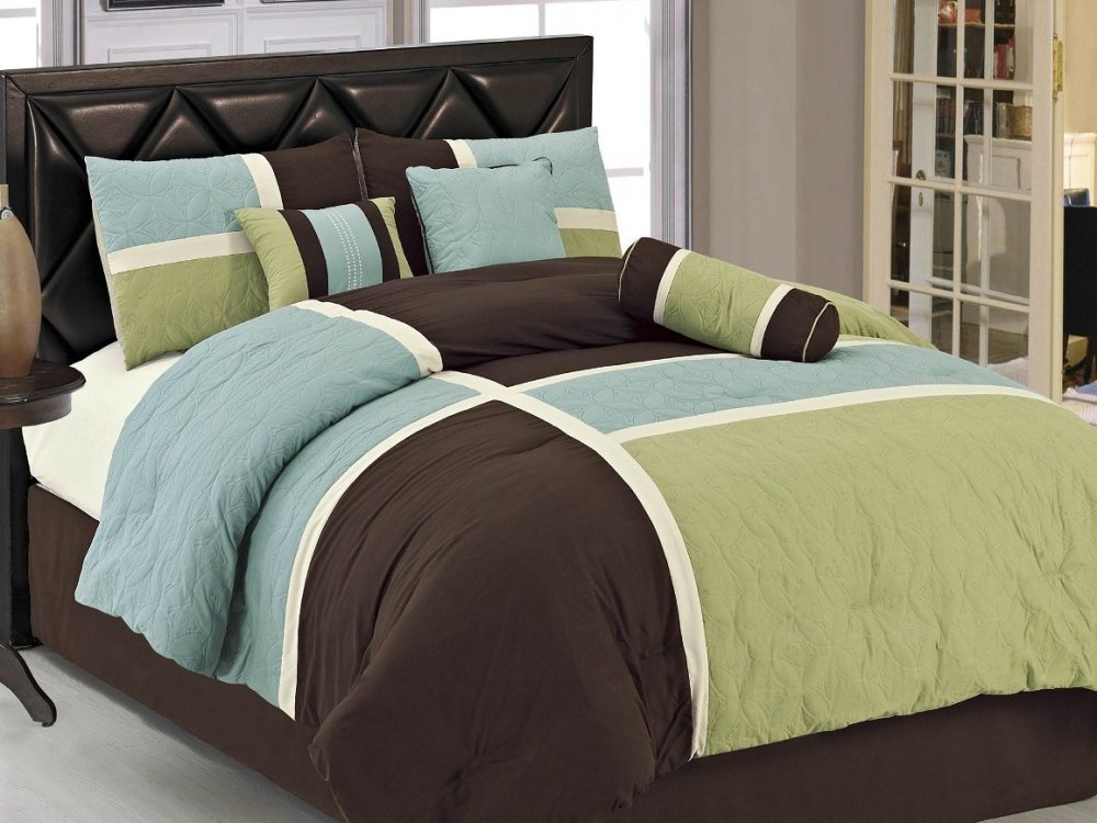 Brown And Blue Comforter Sets Full