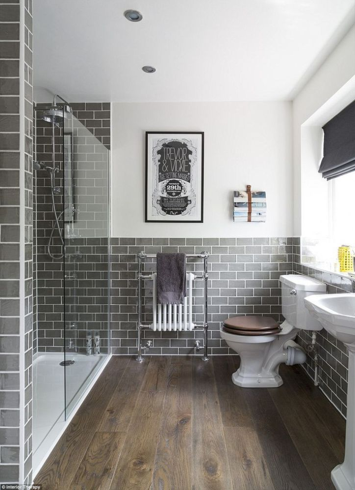 Floating Wood Shelves Over Toilet