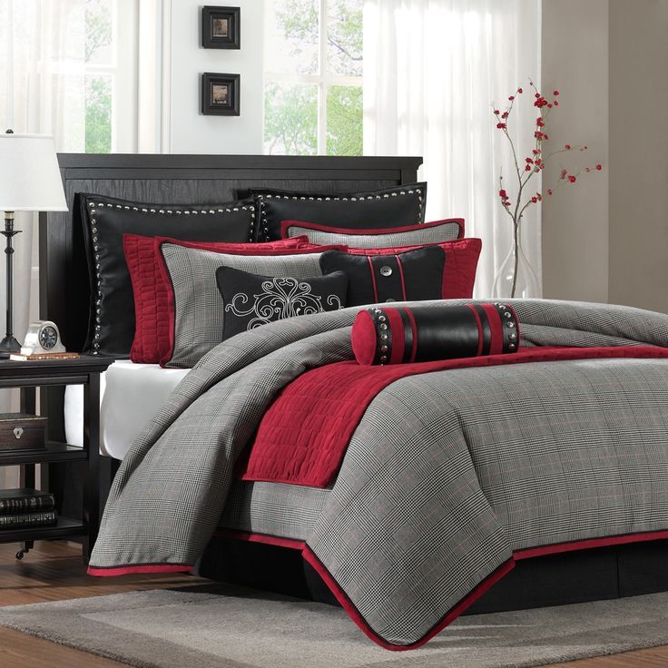 Gray And Red Comforter Sets