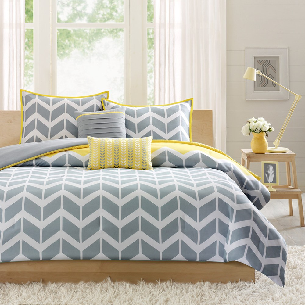 Gray And Yellow Comforter Sets King
