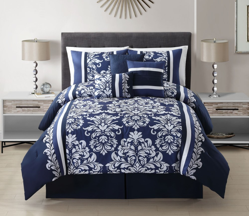 Navy Blue Comforter Sets Full